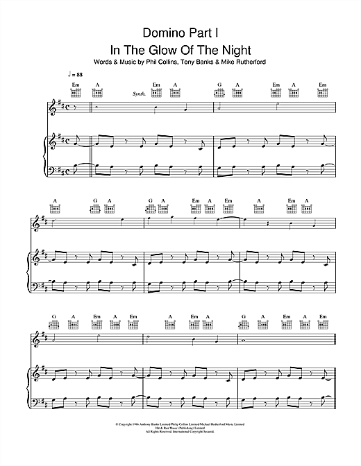 Domino Part 1: In The Glow Of The Night Sheet Music