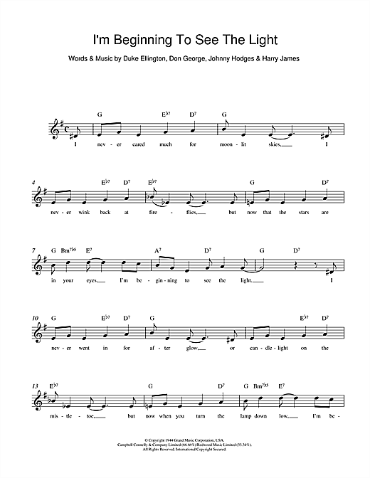 I\'m Beginning To See The Light chords by Duke Ellington (Melody Line ...