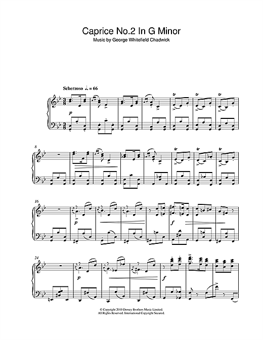 Partition piano Caprice No.2 In G Minor de George Whitefield Chadwick - Piano Solo