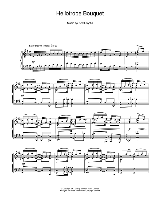 Partition piano Heliotrope Bouquet de Scott Joplin - Piano Solo