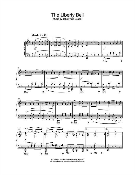 Partition piano The Liberty Bell de John Philip Sousa - Piano Solo