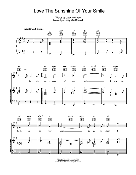 I Love The Sunshine Of Your Smile Sheet Music