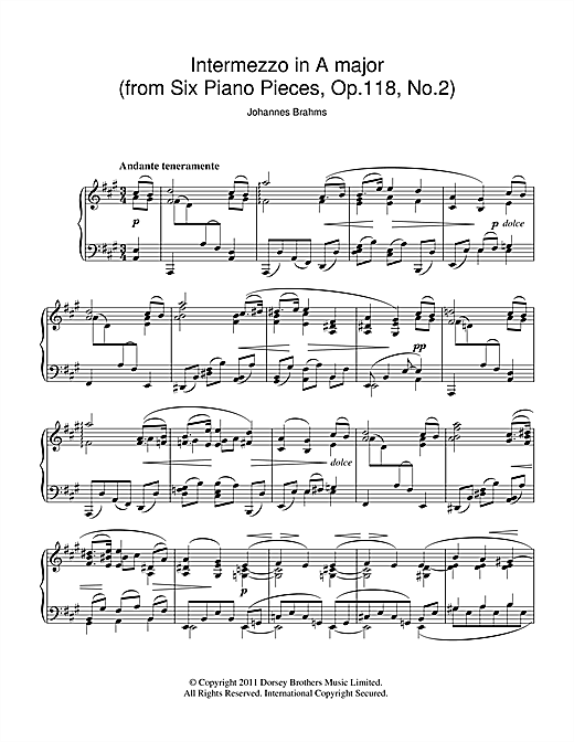 Partition piano Intermezzo In A Major Op. 118 No. 2 de Johannes Brahms - Piano Solo