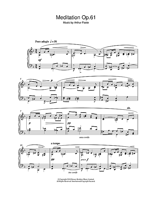 Partition piano Meditation Op.61 de Arthur Foote - Piano Solo