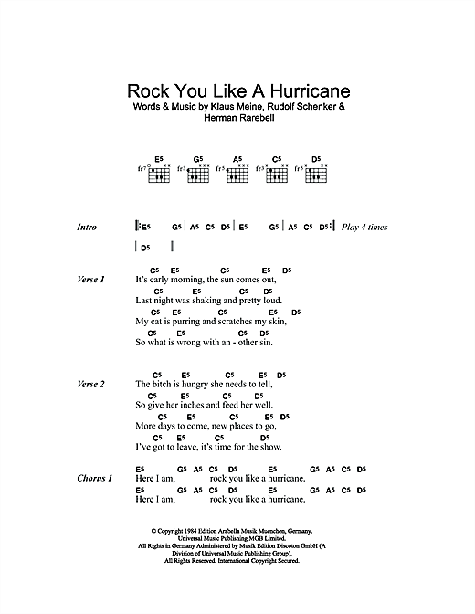 Rock You Like A Hurricane Sheet Music