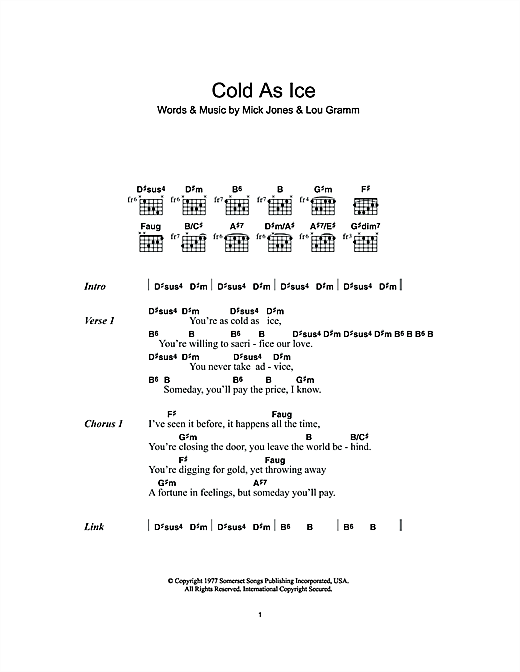 Cold As Ice Sheet Music