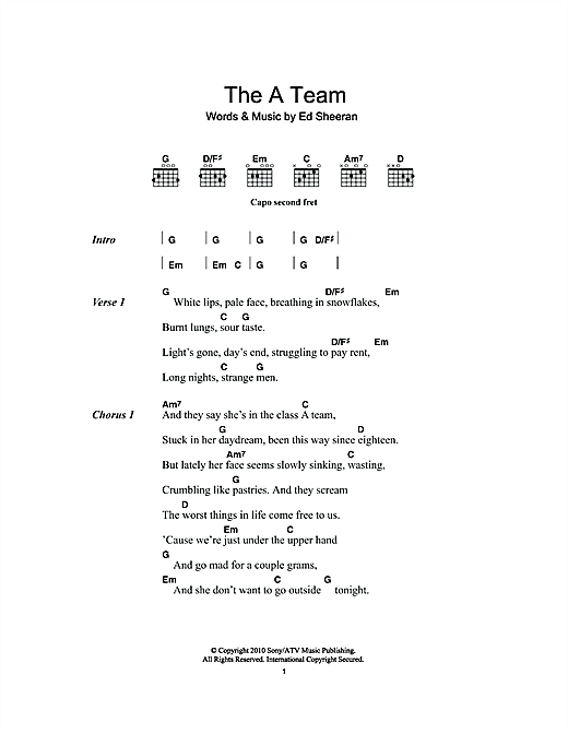 The A Team Sheet Music By Ed Sheeran Lyrics Chords 111819