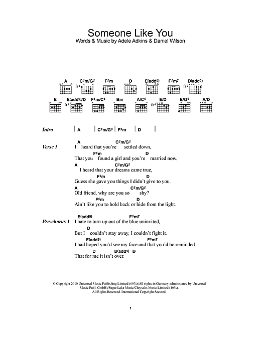 Someone Like You sheet music by Adele (Lyrics u0026 Chords u2013 111821)