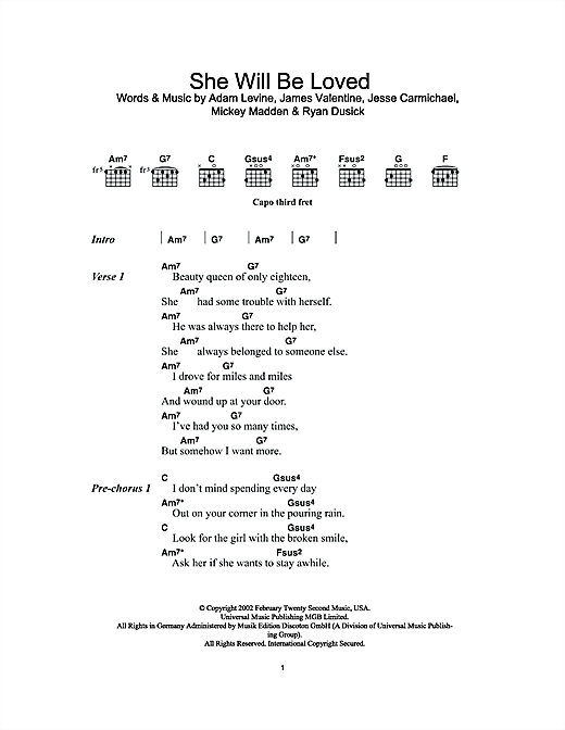 She Will Be Loved sheet music by Maroon 5 (Lyrics & Chords – 111822)