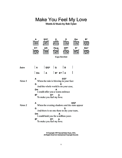 Make You Feel My Love (Guitar Chords/Lyrics)