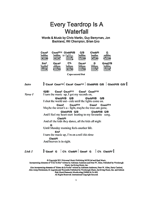 Every Teardrop Is A Waterfall (Guitar Chords/Lyrics)