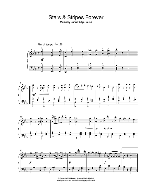 Partition piano Stars & Stripes Forever de John Philip Sousa - Piano Solo