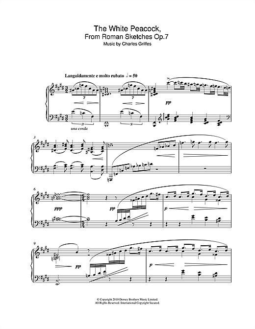 Partition piano The White Peacock, From Roman Sketches Op.7 de Charles Griffes - Piano Solo