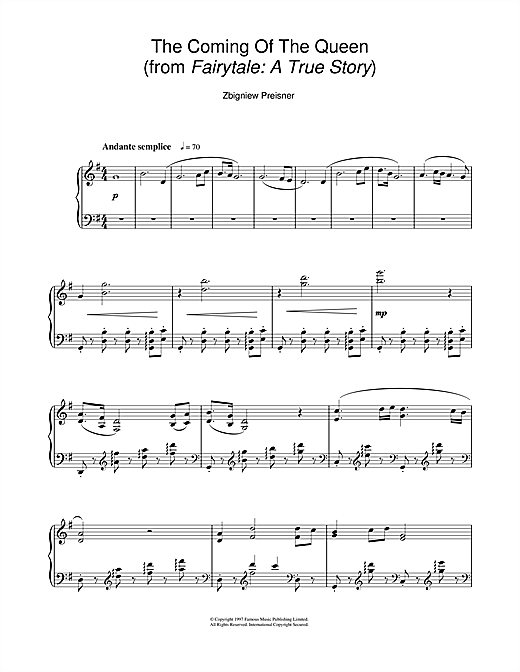 The Coming Of The Queen (from the film Fairytale: A True Story) Sheet Music