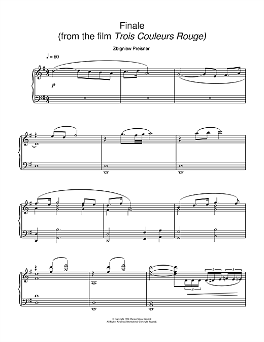 Finale (from the film Trois Couleurs Rouge) Sheet Music