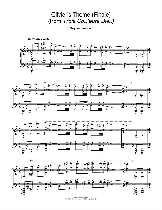 Olivier's Theme (Finale) (from the film Trois Couleurs Bleu) Sheet Music