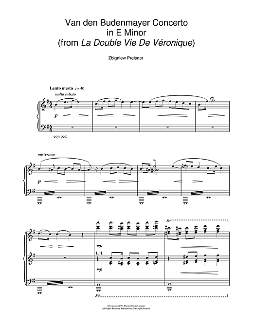 Van Den Budenmayer Concerto In E Minor (from the film La Double Vie De Veronique) (Piano Solo)
