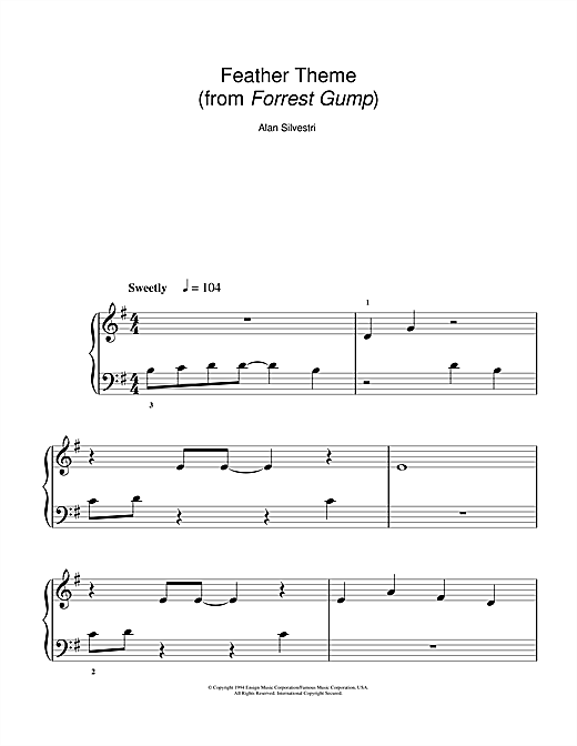 Feather Theme (Main Title from Forrest Gump) Sheet Music