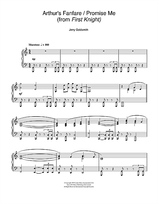 Partition piano Arthur's Fanfare/Promise Me (from First Knight) de Jerry Goldsmith - Piano Solo