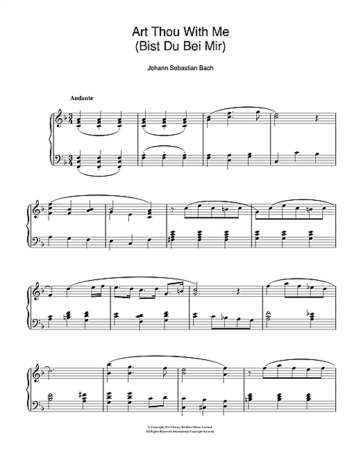 Partition piano Bist Du Bei Mir (You Are With Me) de Johann Sebastian Bach - Piano Solo