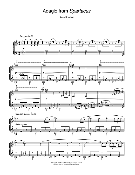 Adagio From Spartacus Sheet Music