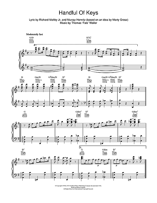Handful Of Keys Sheet Music
