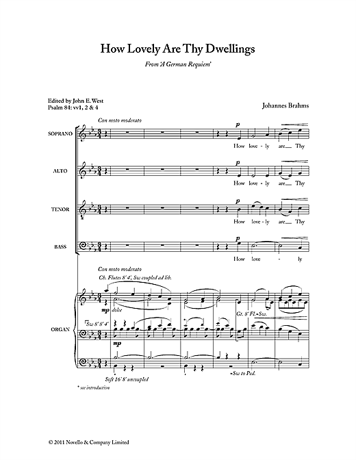 Partition chorale How Lovely Are Thy Dwellings de Johannes Brahms - SATB