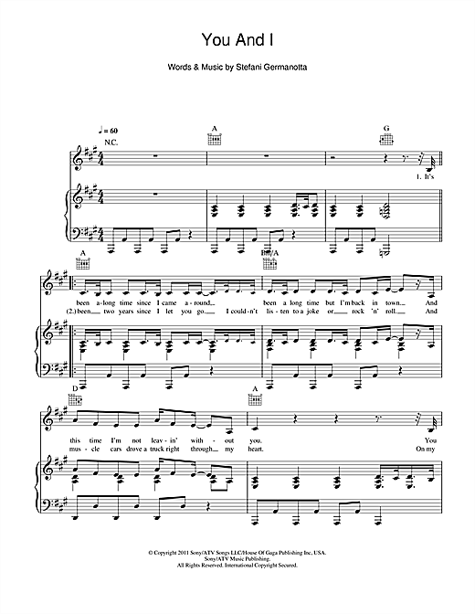 You And I (Piano, Vocal & Guitar (Right-Hand Melody))