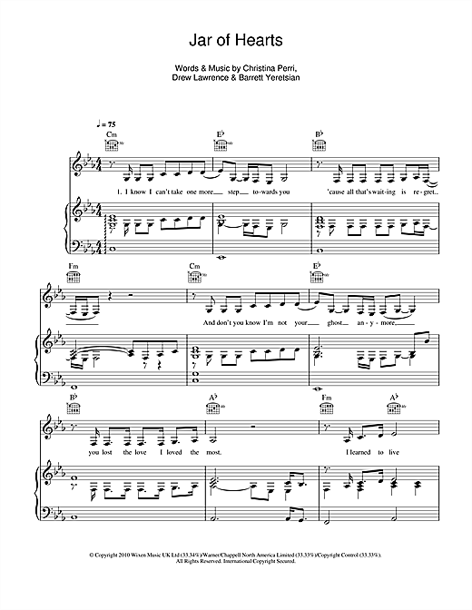 Jar Of Hearts sheet music by Christina Perri (Piano, Vocal u0026 Guitar (Right-Hand Melody) u2013 111926)