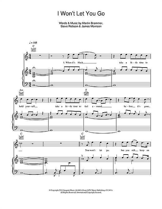 I Won't Let You Go Sheet Music