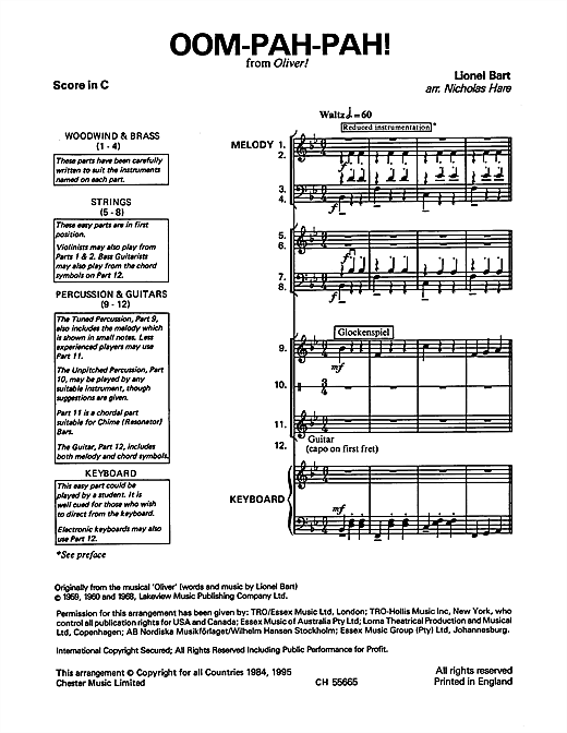 Oom-Pah-Pah (from Oliver!) Sheet Music