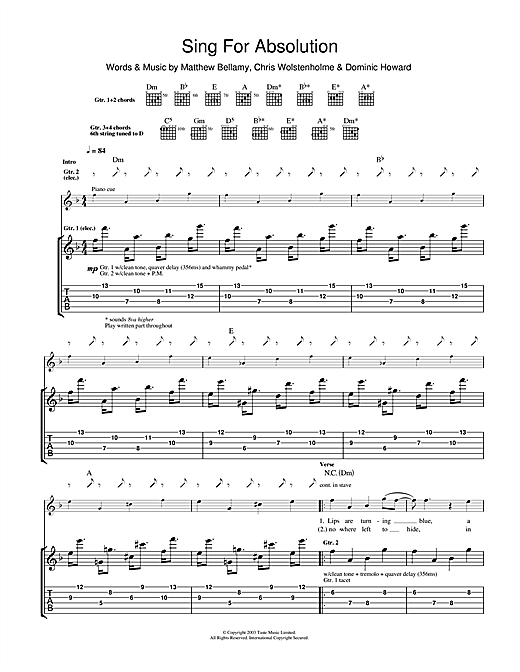 Tablature guitare Sing For Absolution de Muse - Tablature Guitare