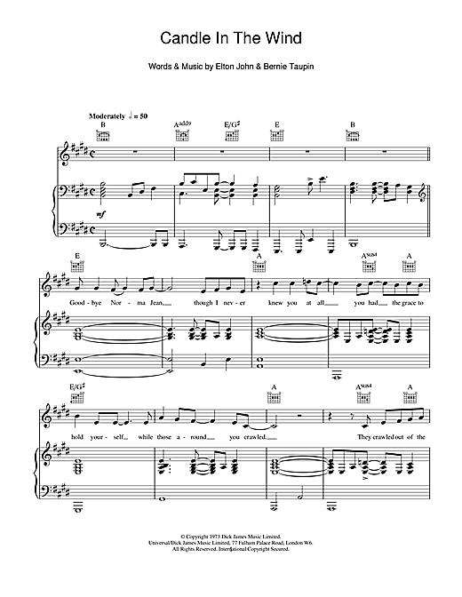 Candle In The Wind Sheet Music
