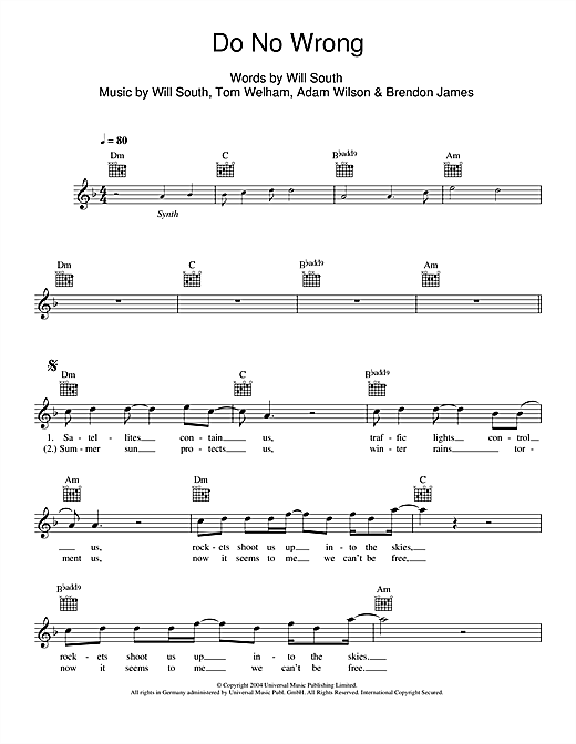 Do No Wrong (Lead Sheet / Fake Book)