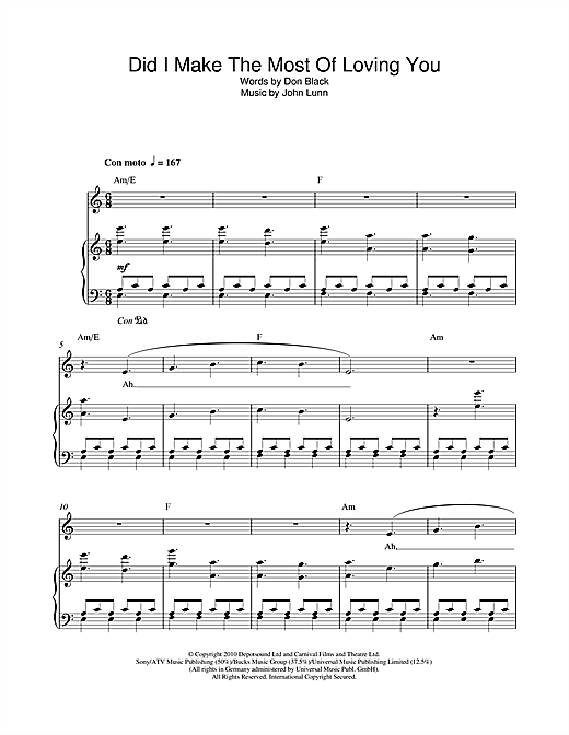 Did I Make The Most Of Loving You Sheet Music
