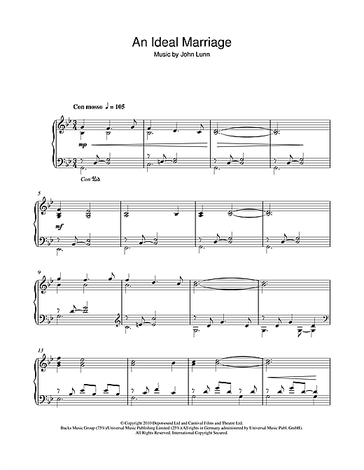 Partition piano An Ideal Marriage de John Lunn - Piano Solo