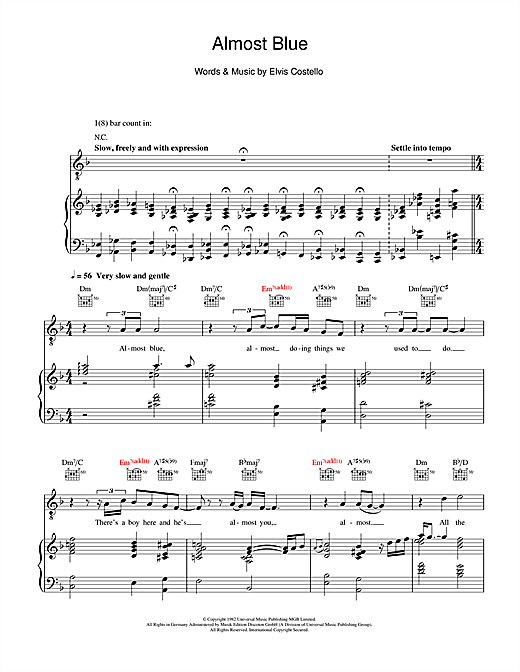 Almost Blue Sheet Music
