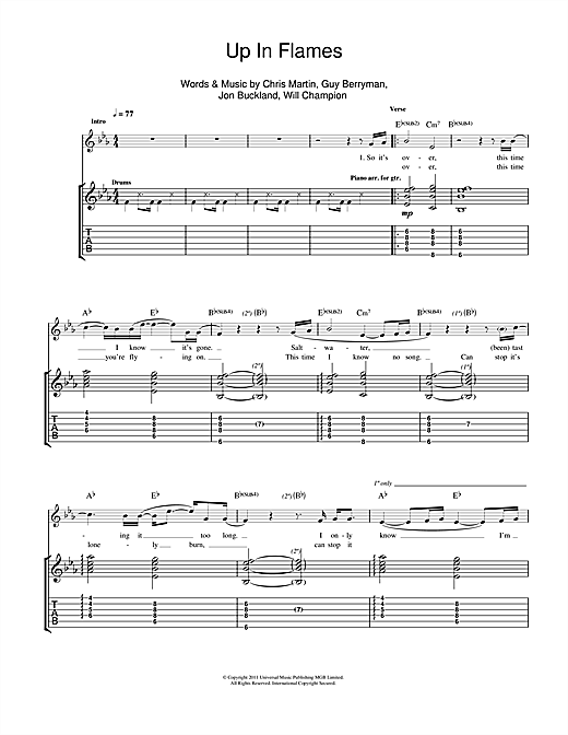 Tablature guitare Up In Flames de Coldplay - Tablature Guitare