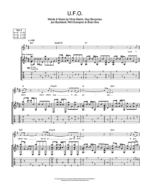 Tablature guitare U.F.O. de Coldplay - Tablature Guitare
