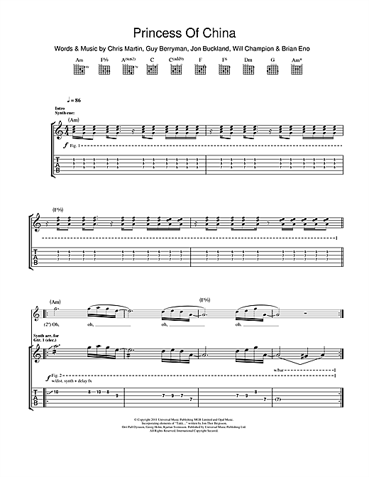 Tablature guitare Princess Of China de Coldplay feat. Rihanna - Tablature Guitare