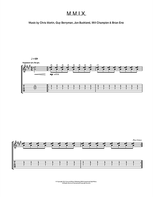 Tablature guitare M.M.I.X. de Coldplay - Tablature Guitare