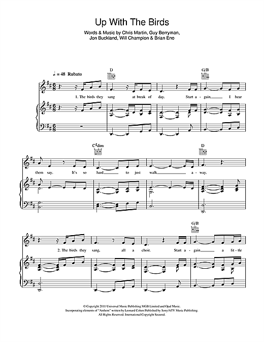 Up With The Birds Sheet Music