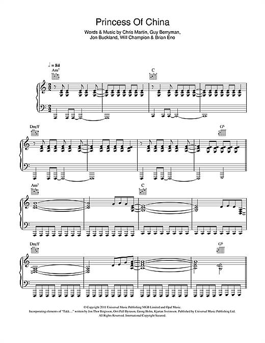Princess Of China (feat. Rihanna) Sheet Music