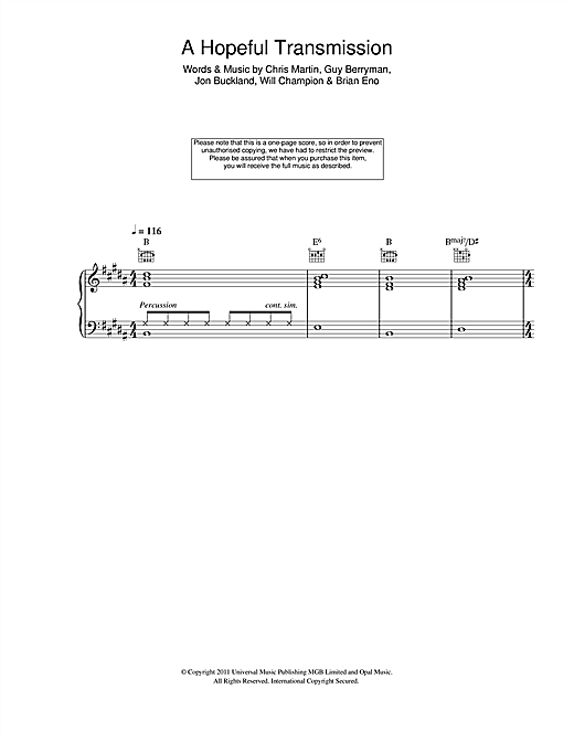 A Hopeful Transmission Sheet Music