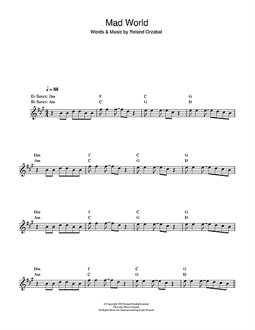 Mad World (from Donnie Darko) Sheet Music
