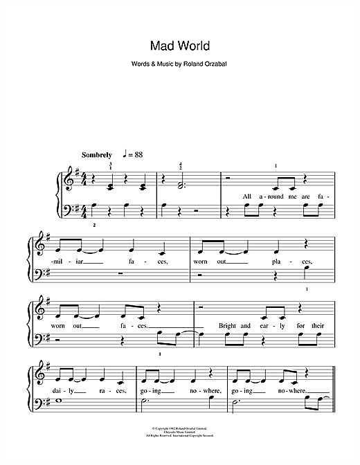 Mad World (from Donnie Darko) sheet music by Gary Jules & Michael ...