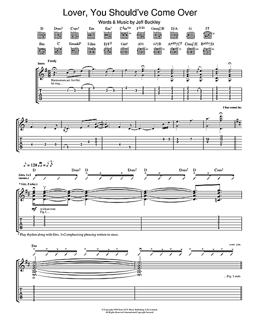 Lover, You Should've Come Over (Guitar Tab)