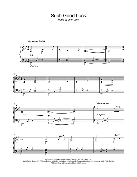 Partition piano Such Good Luck de John Lunn - Piano Solo