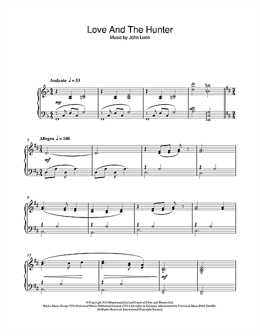 Partition piano Love And The Hunter de John Lunn - Piano Solo