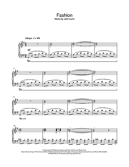 Fashion Sheet Music